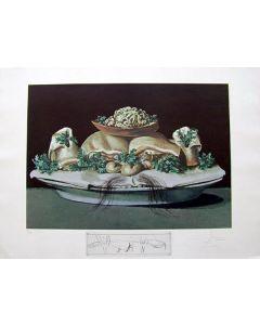 Salvador Dalì, Supremes of Lilliputian Malaises, litografia, 75x55 cm tratta da Les Diners de Gala, 1971