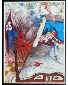 Salvador Dalì, Atto III, Scena V, serigrafia, 31x42 cm, tratta da Romeo e Giulietta, 1975