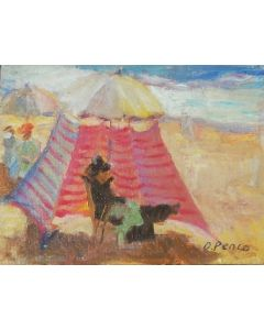 Daniela Penco, Tenda in spiaggia, olio su cartone, 9x12 cm