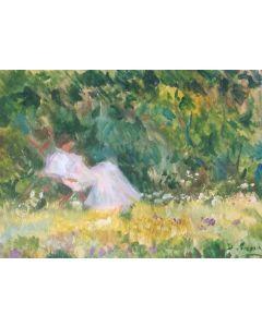 Daniela Penco, Anziana nel parco, Olio su cartone, 18x13 cm