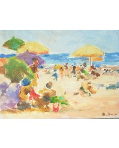 Daniela Penco, Spiaggia d'estate, olio su cartone, 15x20 cm