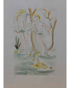 Salvador Dalì, Adamo ed Eva tratto da Omaggio ad Albrecht Dürer, acquaforte, 75x55 cm