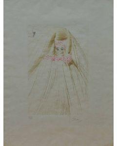 Salvador Dalì, La regina con la tunica di seta, acquaforte a colori, 67x50 cm, 1970