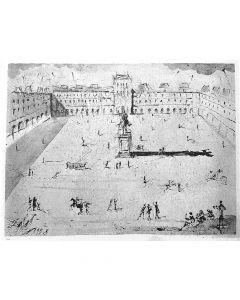 Salvador Dalì, La Grande Place des Vosges, du temps de Louis XIII, Eliografia, 76x56,5 cm, 1973