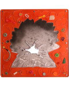 Renzo Nucara, Stratofilm (antivulcano), Plexiglass, resine, oggetti, 60x60 cm