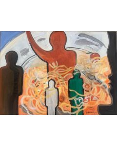 Carlo Massimo Franchi, Evviva la pasta, olio su tela, 70x50 cm