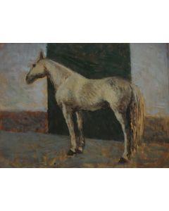 Giovanni Malesci, Cavallo bianco, olio su tavola, 33x25 cm, 1945