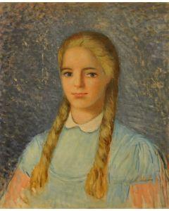 Giovanni Malesci, Ritratto di Vanessa, olio su tela, 45x55 cm, 1962