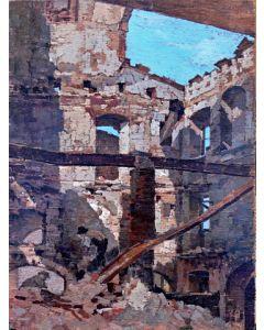 Giuseppe Comparini, Case bombardate, olio su tavola, 37x50, 1944