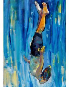 Claudio Malacarne, Diver, olio su tela, 110x170 cm