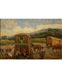 Giuseppe Comparini, Accampamento di zingari, olio su tela, 75x45, 1969