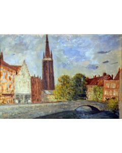 Giovanni Malesci, Bruges, olio su tavola, 46x32 cm, 1957