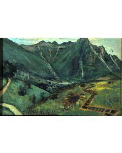 Giovanni Malesci, Arrivo di granate nemiche, olio su cartone, 25x16 cm, 1918