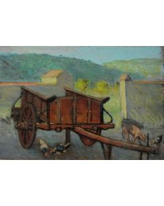 Giovanni Malesci, Cortile e carro colonico, olio su tavola, 36,5x25,5 cm, 1925