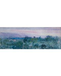 Giovanni Malesci, Paesaggio rosa, olio su tela, 60x24 cm
