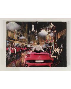 Pisati da Milano, Chapeau Ferrari, retouchè su tela, 24x18 cm