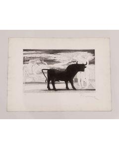 Salvatore Fiume, Toro, acquaforte, 50x70 cm, prova d'artista