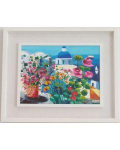 Athos Faccincani, L'isola della luce (Santorini), olio su tela, 30x40 cm (compresa cornice 47,5x58 cm)