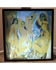 Pablo Picasso, Les Demoiselles d'Avignon, stampa su plexiglass con cornice e illuminazione, 52x54x13 cm