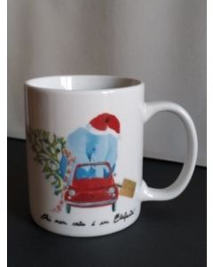 Maxacolori (Massimiliano Milano), Chi non sale è un elefante, mug (tazza) natalizia in porcellana, h 9,5 cm