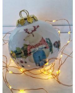 Maxacolori (Massimiliano Milano), Chi non sale è un orso, pallina di Natale in porcellana, h 7,5 cm