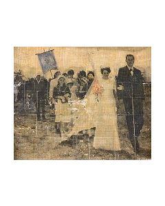 Enrico Pambianchi, Matrimonio (Freak Show),  collage, olio, acrilico, matite, gessetti, resine su cartone d'arazzo, 177x149 cm