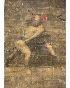 Enrico Pambianchi, Lottatori di Sumo,  collage, olio, acrilico, matite, gessetti, resine su cartone d'arazzo, 124x176 cm
