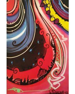 La Pupazza, Mondi cosmici, grafica su PVC, 31X47 cm