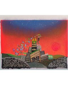 Meloniski Da Villacidro, Città Sognata, serigrafia e collage ritoccata a mano su tela, 59x74,5 cm