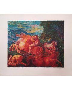 Aligi Sassu, Battaglia mitologica, serigrafia, 70x80 cm