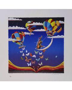 Meloniski da Villacidro, Mongolfiere in concerto, retouchè, 72x72 cm