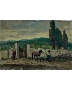 Giuseppe Comparini, Strada di cipressi con cavallino, olio su tela, 60x40 cm, 1970