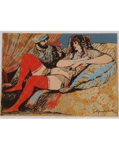Salvatore Fiume, Odalisca, serigrafia su broccato, Prova d'Artista, 50x70cm