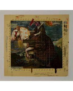 Enrico Pambianchi, War machine, tecnica mista su tela, 44,3x42,7 cm, 2013
