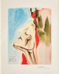 Salvador Dalì, Dante in dubbio, xilografia, 26x33 cm, tratta da La Divina Commedia, 1951-60