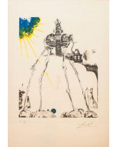 Salvador Dalì, L' elefante spaziale, litografia, 52,5x41,5 cm