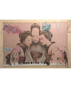 Enrico Pambianchi, Chewing Gum, collage, olio, acrilico, matite, gessetti, resine su tela, 70x100 cm