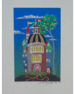 Meloniski da Villacidro, Piccolo borgo, serigrafia e collage ritoccata a mano, 24,7x20 cm