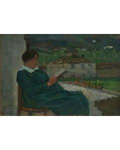 Giovanni Malesci, Mia moglie in giardino: gravidanza, olio su tavola, 20x14 cm, 1915