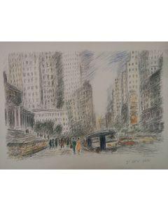 Michele Cascella, New York, serigrafia ritoccata a mano, 64x50 cm