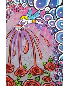La Pupazza, L'angelo magico, acrilico e spray su carta, 50x70 cm