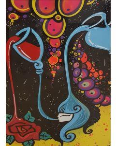 La Pupazza, La donna nella brocca, acrilico e spray su carta, 50x70 cm