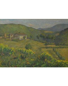 Giovanni Malesci, Veduta di Vicchio Mugello, olio su tavola, 48,5x34 cm, 1914