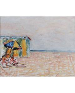 Giovanni Malesci, Marina con cabina, Olio su tela, 28x34 cm, 1966