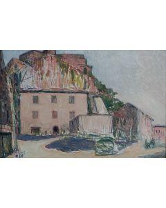 Giovanni Malesci, Paese di Maremma, olio su tela, 30x45 cm, 1966