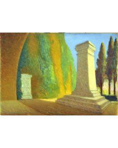 Giovanni Malesci, Tomba di Giacomo Leopardi, Olio su tavola, 48,5x34 cm, 1952