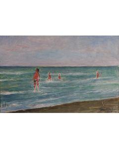 Giovanni Malesci, Marina con bagnanti, Olio su tela, 41x28 cm, 1965