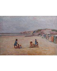 Giovanni Malesci, Spiaggia di Ostenda, olio su tavola, 34x49 cm, 1953