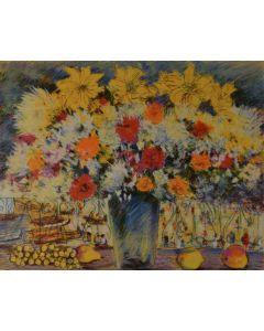 Michele Cascella, Vaso di fiori, serigrafia, 69x89 cm