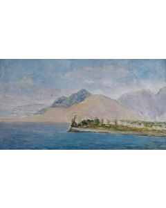 Giovanni Malesci, Marina siciliana, olio su tela, 48x27 cm, 1957